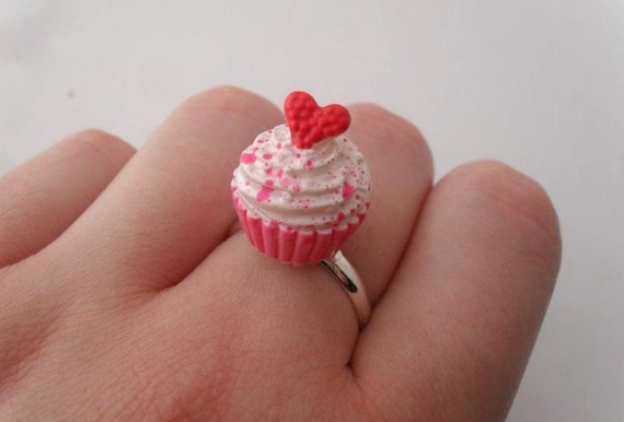 cupcake ring // adjustable pink cupcake ring with red heart