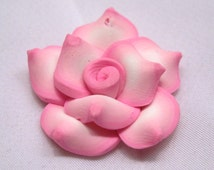 10pcs Polymer Clay Rose Handmade Pink Flower Loose Findings Wholesale Supplies f007