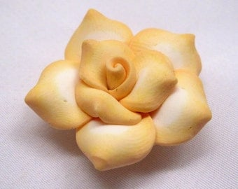 10pcs Handmade Yellow Flower Polymer Clay Rose  Loose Findings Wholesale Supplies f011
