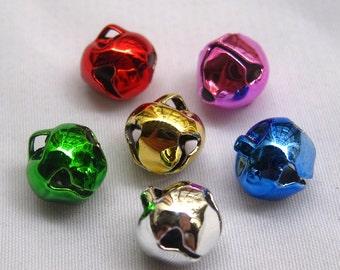 30pcs Assorted Colors 8mm Cross Jingle Bells Bronze Charm Bead Crafts b025