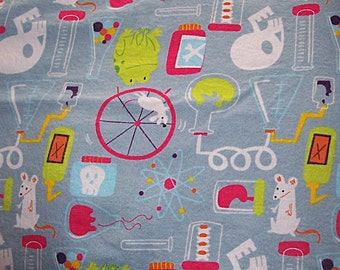 Mad Scientist Lab Flannel Fabric-Prewashed 1 1/2 yds -use for Diapers, pj's