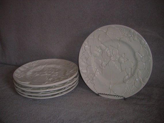 Set of Five (5) vintage, white, deeply textured, ceramic plates