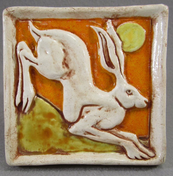Leaping Hare Ceramic Art Tile - Bright Orange, Hand Made Ceramic Tile, Wall Art