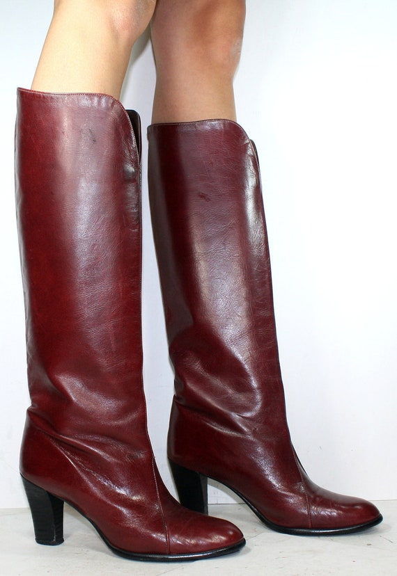 vintage high heels burgundy maroon knee