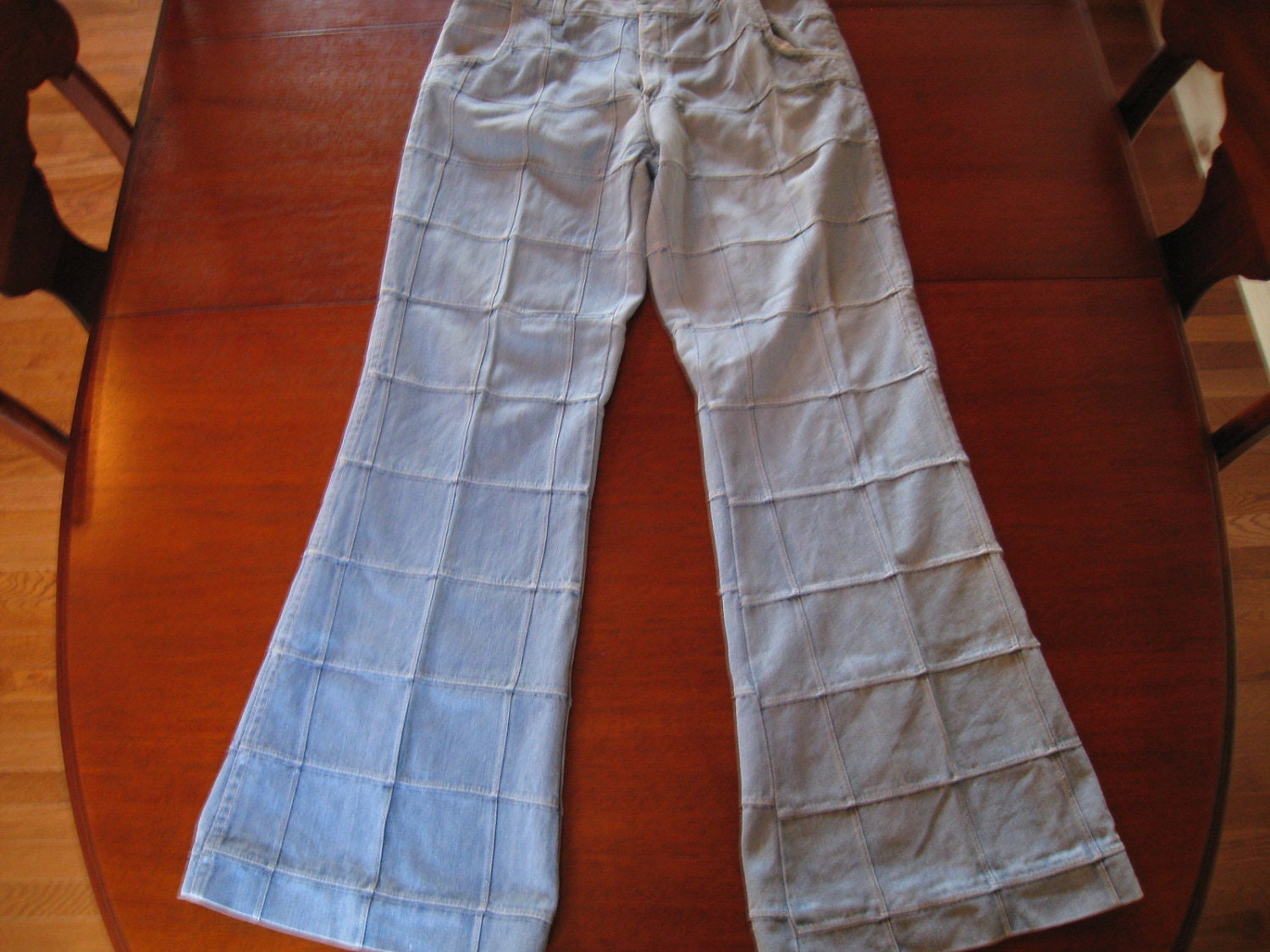 Vintage Bell Bottom Window Pane Mens Jeans By