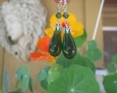 Hand blown Green Glass Teardrop Earrings