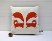 Hand Screen Printed Fox Cushion Cover in Burnt Orange