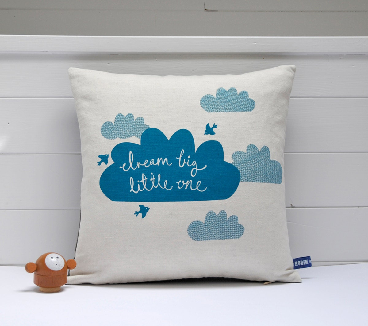 hand screen printed dream big little one cushion cover in teal. Black Bedroom Furniture Sets. Home Design Ideas