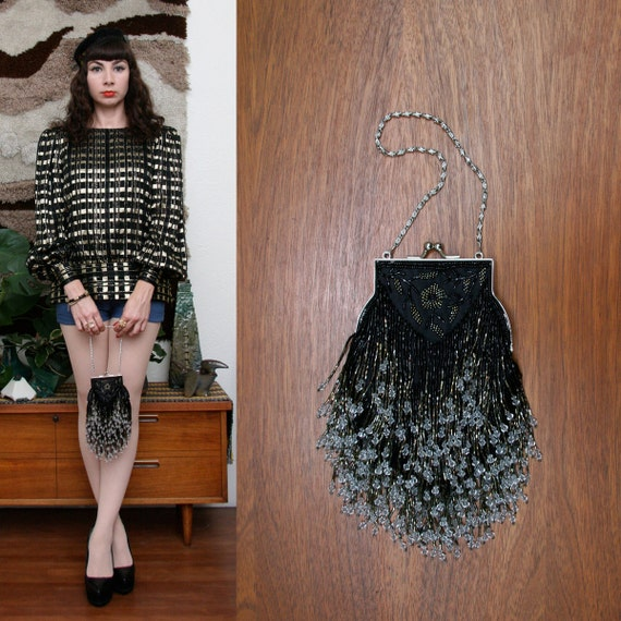 Vintage 80s 90s Beaded Flapper Style Bag