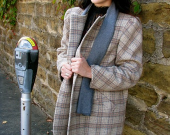 vintage 1970s Puff Sleeve PLAID Car Coat with Gray Scarf