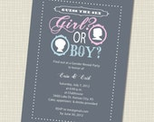 Gender Reveal Party Invite, Guess the Sex, Grey, Pink, Blue,  Silhouette boy and girl