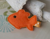 Orange Gold Fish Hair Clip