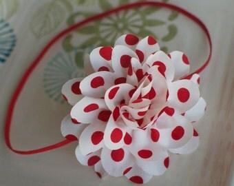 Red and White Polka Dot Large Chiffon Flower Headband