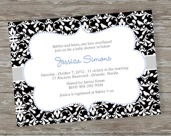 "Baby Shower invitations - Digital file ""Toile Baby"" design"