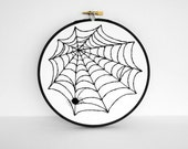 Halloween Art Spider Web Wall Hanging Decoration - 6 inch Embroidery Hoop Art in Black and White - sometimesiswirl