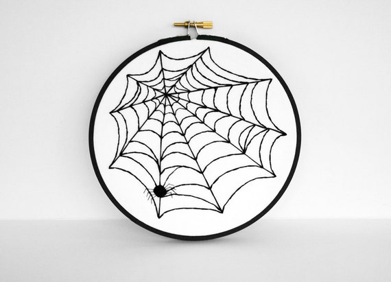 Halloween Art Spider Web Wall Hanging Decoration - 6 inch Embroidery Hoop Art in Black and White