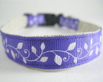 Hemp Dog Collar - Purple Vine - 3/4in