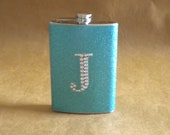 Women's Gift Aqua Sparkly or ANY Color Sparkly 8 ounce Flask with ANY Rhinestone Initial KR2D 5755