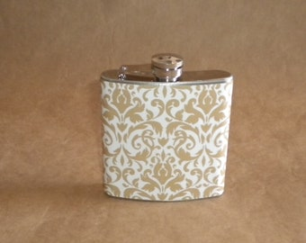 Taupe and White Damask Print 6 ounce Stainless Steel Bridesmaids' Gift Flask KR2D 2700