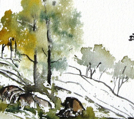 Hillside Trees - Original Watercolor Painting