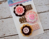 Felt flower baby snap clips, set of 3 - Cowgirl pink and brown hair clips