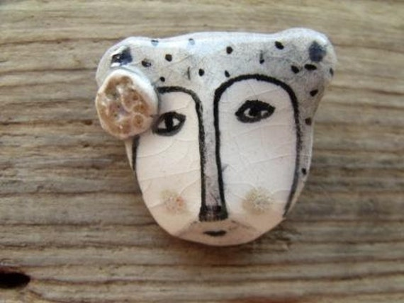 My autumn bear  friend -hand formed and drawn ceramic brooch