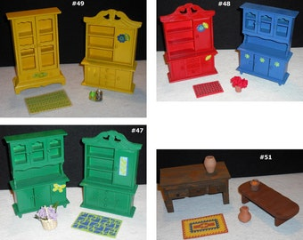 """Miniature Doll House Furniture Set Scaled 1"""" to 1' Arm Chair Rocker Buffet Cabinet Armoir Shelf Bench Rug Your Choice"""