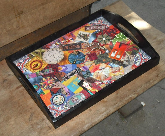 Wood Tray Decoupage Home Decor Box 10 Vintage Cut Outs Art