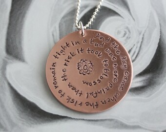 Anais Nin Quote Copper Pendant Necklace