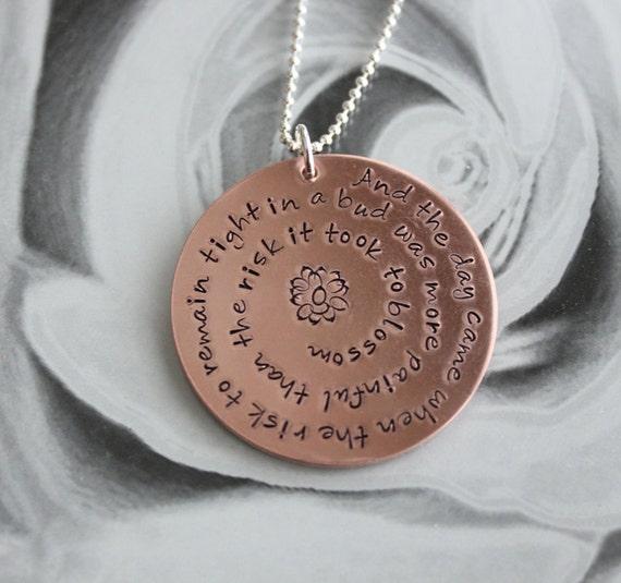 Anais Nin Quote Copper Pendant Necklace