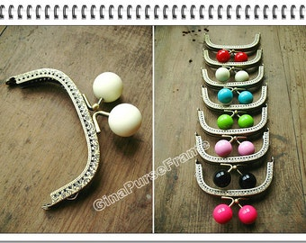 9.5cm (3.75inch) Big candy-bead Embossed metal bag purse frame (7colors available) with sewing holes for purse bag pouch making-1piece