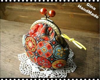 Orange season Metal frame purse/coin purse / Coin Wallet /Pouch / Kiss lock frame bag-GinaHandMade