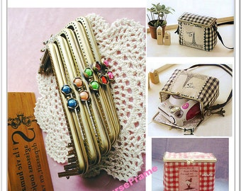 15cm (6 inch) Camera box metal frame Rectangle Flower-bead metal purse frame With sewing-holes (5color)-1piece
