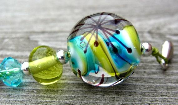 Refresh - delicate focal - Handmade Lampwork Bead Set (2) by Anne Schelling, SRA