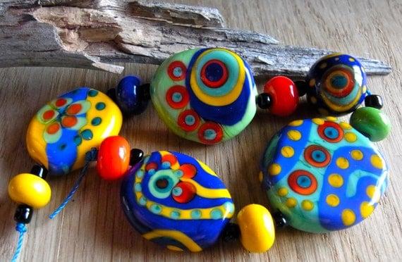 Good Mood - Handmade Lampwork Glass Beads (11) by Anne Schelling, SRA