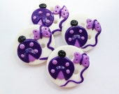 Ladybug buttons purple polymer clay handmade buttons READY TO SHIP!!
