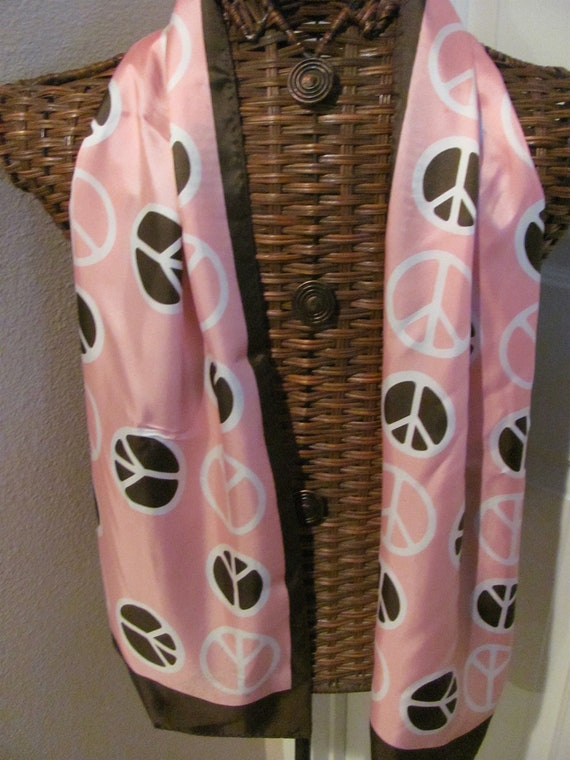 Pretty Pink Brown Peace Sign Fashion Scarf - 11 x 56 Long