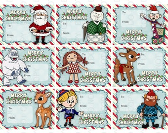 Printable DIY Rudolph the Red Nosed Reindeer and Santa Christmas Cards for kids or Gift Labels