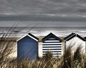 Beach Photography - England Blue Beach Huts  - Sand Dunes 10x8 inch  Photograph Beach House Photo Travel Picture