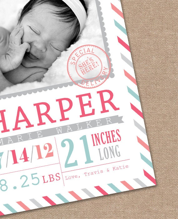BABY Announcement BIRTH Announcement - Baby GIRL - Birth Card