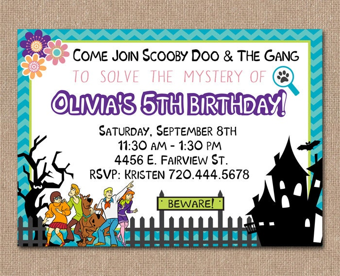 Scooby doo birthday invitation girl birthday by for Scooby doo cake template