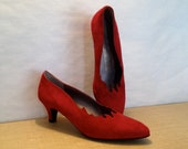 SALE Bruno Magli Red Suede Heels  Red Hot Flames Never Worn - episodevintage