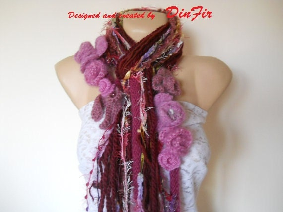 MULTICOLOR  SCARF  with  ROSES,  Women Crocheted Loop Scarf,  Crocheted Flowers Applique,  Elegant Crocheted Scarves