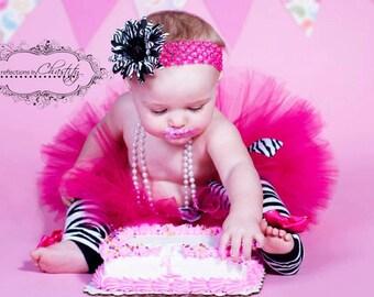 HOT PINK tutu with Zebra Print, headband included....Birthday tutu, Photography Prop....size newborn-2T