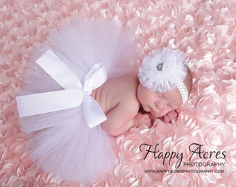 WHITE NEWBORN TUTU with tulle flower headband, size newborn through 2t available, newborn photography prop, birth announcement, 1st birthday