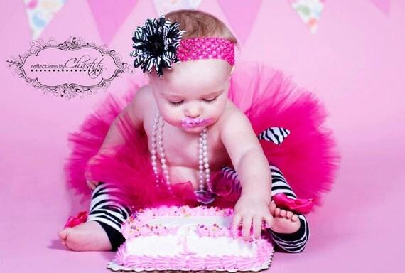 HOT PINK tutu with Zebra Print, headband included....Birthday tutu, Photography Prop....size newborn-5/6