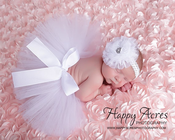 White Newborn Tutu With Tulle Flower Headband Size Newborn