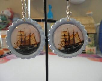 A Beautiful Ship Sailing Earrings