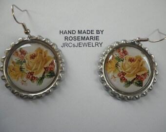 Yellow Rose Earrings