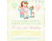 Digital PRINTABLE Vintage Sewing Sew Crafty Tea Party Celebrate Birthday Girl Daughter Children Baby Shower Invitation Cards Sheet IN40